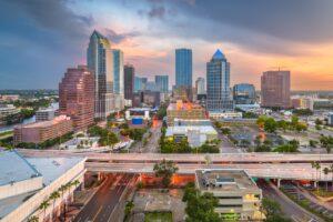 Tampa, Florida, USA aerial downtown skyline.
